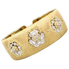 M. Buccellati Diamond Gold Cuff Bracelet