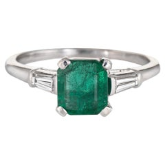 Emerald Diamond Engagement Ring Vintage Platinum Gemstone Jewelry Estate 6.75