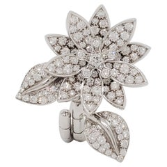 Van Cleef and Arpels Lotus Between the Finger Ring in White Gold with Diamonds