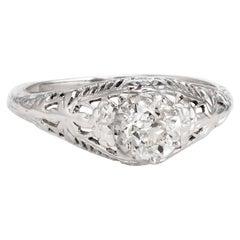 Vintage Art Deco Diamond Engagement Ring 14k Gold Filigree Mine Cut Jewelry