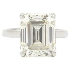 Giant GIA 8 Carat Emerald Cut Diamond Engagement Ring Platinum Large Solitaire