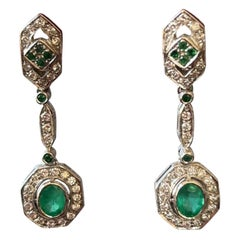 Art Deco Emeralds and Diamonds White Gold Cocktail Earrings