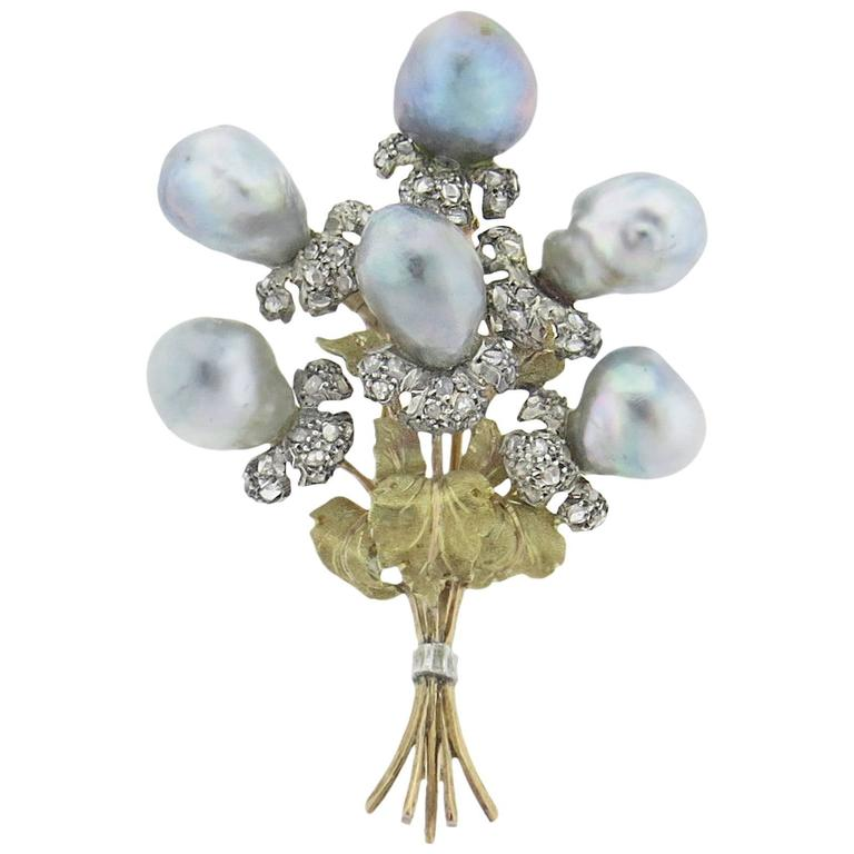 Buccellati Gold Rose Cut Diamond Pearl Bouquet Brooch Pin