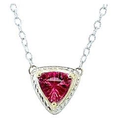 1.63 Carat Pink Tourmaline Trilliant White and Yellow Gold Bezel Chain Necklace