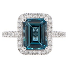 London Blue 2.63 Carat Topaz Ring Set with Diamonds 0.40 Carats 18K White Gold