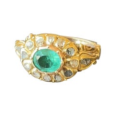 Eighteen Century Colombian Emerald and Diamond Cocktail Ring - Victorian Epoch