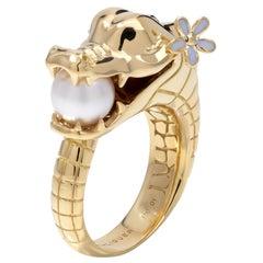 Crocodile Ring with Australian Akoya Pearl in 18ct Yellow Gold