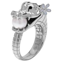 Crocodile Ring with Australian Akoya Pearl in 18ct White Gold