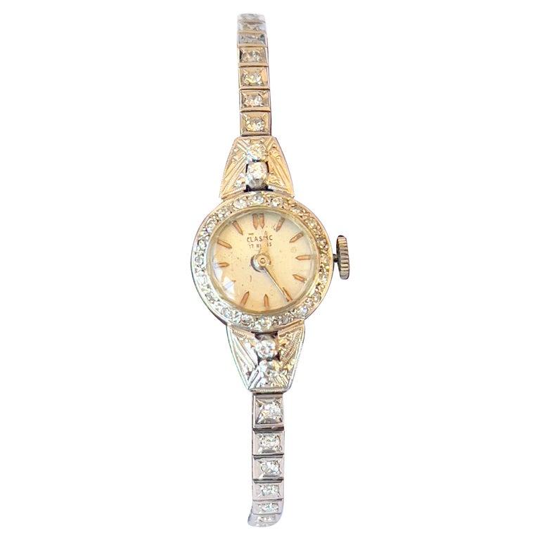 Art Deco Ladies Diamonds and Platinum Automatic Cocktail Wristwatch  For Sale