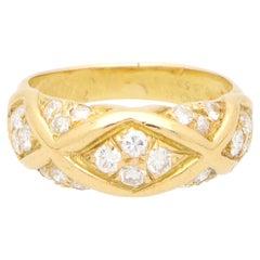 Vintage Van Cleef & Arpels Diamond Bombe Ring Set in 18k Yellow Gold