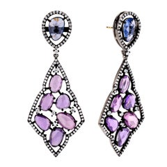 Purple and Blue Sapphire Victorian Earrings with Diamond