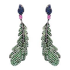 Pink Tourmaline, Tsavorite, Blue Sapphire Victorian Feather Earrings