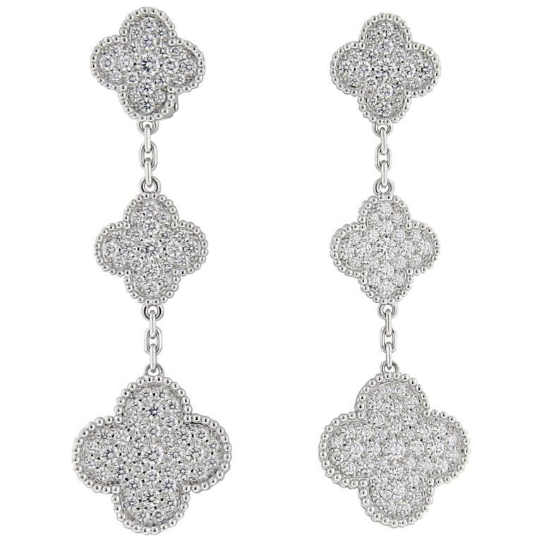 Van Cleef Arpels Magic Alhambra Diamond Gold Three Motif Earrings For