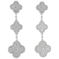 Van Cleef & Arpels Magic Alhambra Diamond Gold Three Motif Earrings