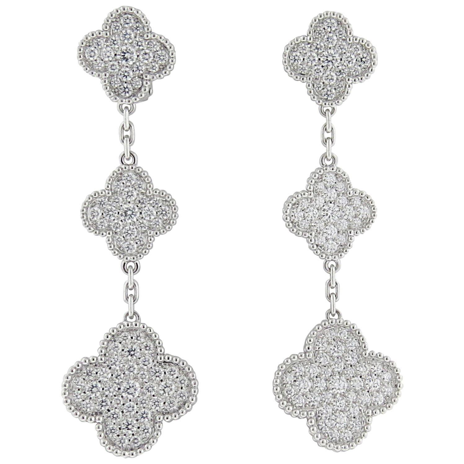 Van Cleef And Arpels Magic Alhambra Diamond Gold Three Motif Earrings At 1stdibs