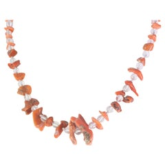 Intini Jewels Silver Italian Handmade Rock Crystal Natural Coral Boho Necklace