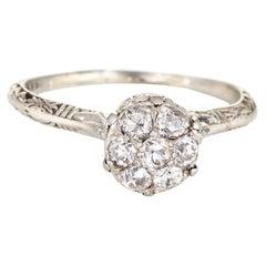 Vintage Art Deco Diamond Cluster Ring Vintage 18k Gold Filigree Jewelry