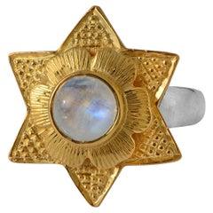 Emma Chapman Moonstone Gold Plate Statement Ring