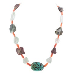 Turquoise Tourmaline Coral Aquamarine Silver Assymetric Chocker Beaded Necklace
