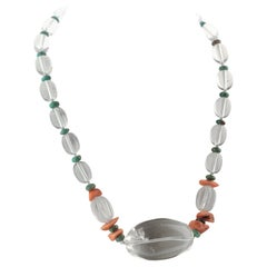 Intini Jewels Rock Crystal Coral Turquoise Silver Modern Chic Necklace