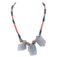 Chalcedony Coral Lapis Lazuli Turquoise Assymetric Summer Silver Beaded Necklace