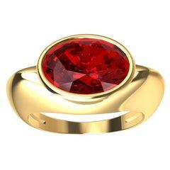 18 Karat Yellow Gold Pigeon Blood Ruby Sculpture Ring