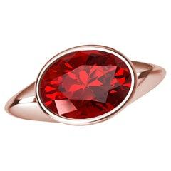 18 Karat Rose Gold Pigeon Blood Ruby Sculpture Ring