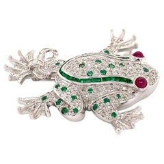 Diamond and Emerald Frog with Ruby Eyes Gold Brooch Pin Estate Fine Jewelry