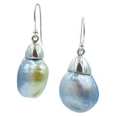 Sterling Silver Cap Silver Blue Baroque South Sea Pearl Drop Earring