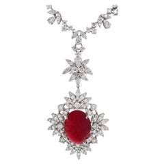 Important 25.24 Carat Cabochon Ruby Pendant with 9.52 Carats Diamond Necklace