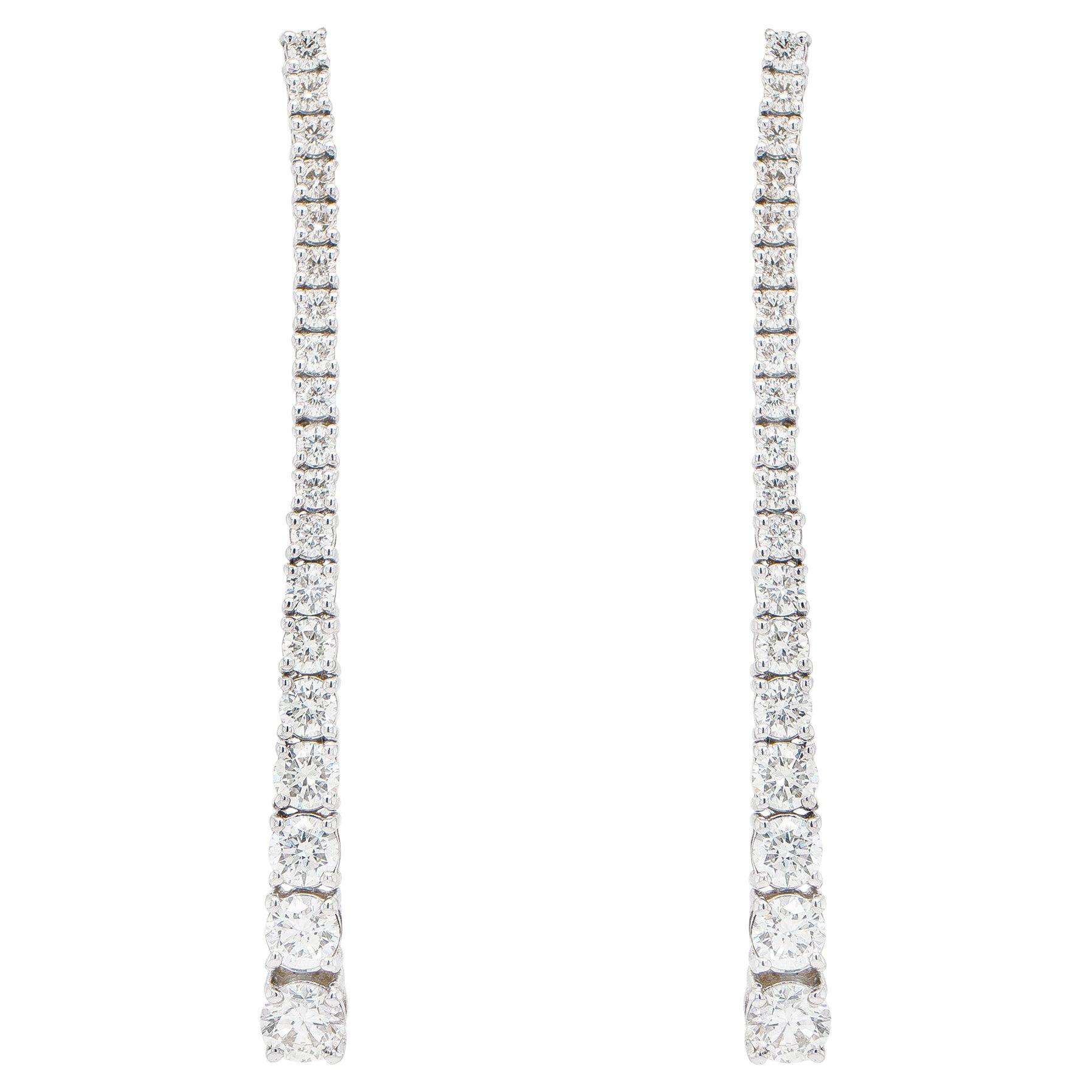 Diamond Dangle Earrings 2.74 Carats 18K White Gold