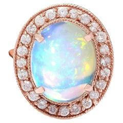 5.30 Carat Opal Diamond Ring 14 Karat Rose Gold