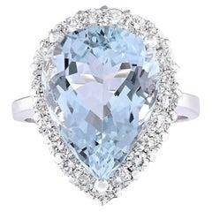 8.66 Carat Aquamarine Diamond Cocktail Ring 14 Karat White Gold