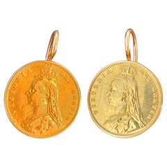 Victorian Yellow Gold Half Pound Coin Portuguese Solid Gold Frame Earrings