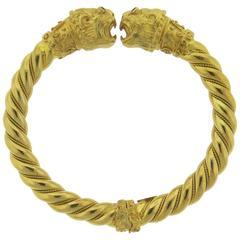 Greek Ruby Gold Chimera Cuff Bracelet