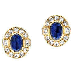 Cartier Paris Sapphire Cabochon and Diamond Earrings, 18K Yellow Gold