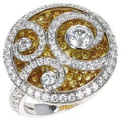 Graff Diamond and Yellow Diamond 'Diamond on Diamond' White Gold Ring