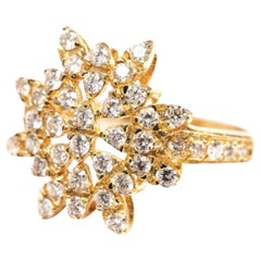 AIG Certified Sun Shaped Diamonds Gold Cocktail Engagement Ring