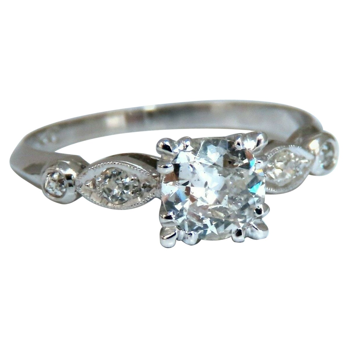 .76ct Natural Round Diamond Vintage Platinum Ring