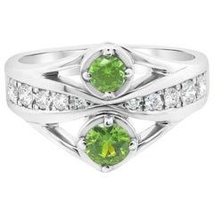 CGL Certified 0.40 Carat Russian Demantoid Garnet Round Rare Diamond PT 900 Ring