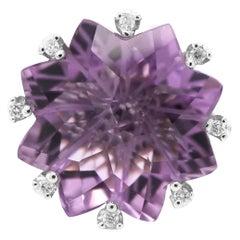 22.80 Carat Special Flower Cut Amethyst & Diamond 18K Ring