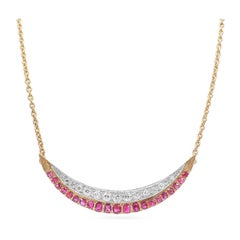 Antique Old Mine Cut Diamond & Ruby Crescent Moon Necklace