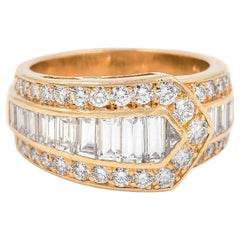 French Vintage Diamond Buckle Motif Ring