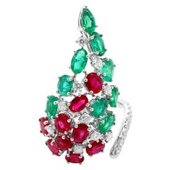 3.88 Carat Vivid Red Burma Ruby Colombian Emerald Christmas Color Cocktail Ring