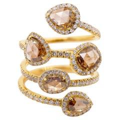 2.02 Carat Champagne Diamond Creeper 18K Yellow Gold Dressy Ring