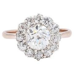 Edwardian 1.08 Carat Old European Cut Diamond Cluster Engagement Ring