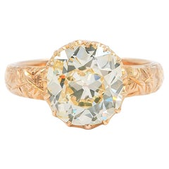 Victorian 4.50 Carat Old Mine Cut Fancy Yellow Diamond Solitaire Engagement Ring