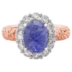 Certified 2.68 Carat Sapphire Set Inverted 18K Rose Gold Designer Ring