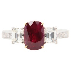 GRS Certified 2.40 Carat Burmese Pigeon Blood Ruby and Diamond Ring