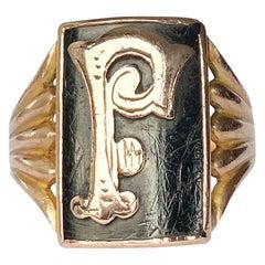 Art Deco Enamel and 9 Carat Gold Initial Ring